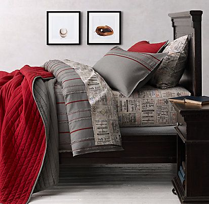 Vintage Baseball Stripe Ticket Bedding Collection Love For Game Room