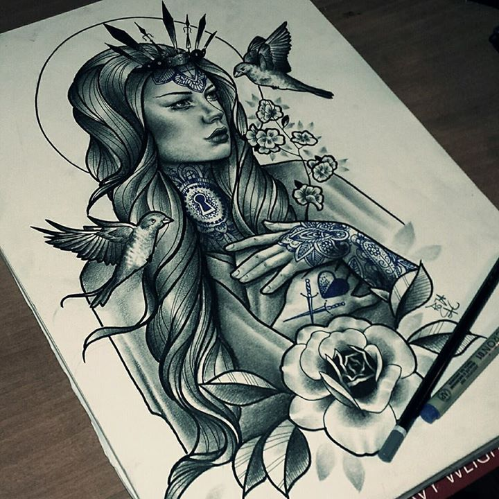Roza Realism Neotraditional Color Portrait Tattoos Sake Tattoo Crew Portrat Tatowierungen Skizzierung Tattoo Girls