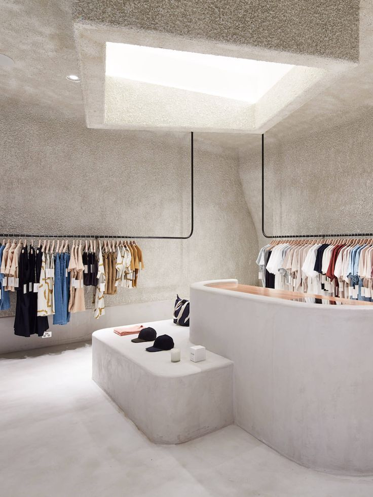 This place is kind of strange. The walls, floor, ceiling, and sales desk are all the same color and material but the concept is very simplistic. They have very simple racks that the clothes are hanging from and the skylight helps bring in most of the lighting. It is different but it works.