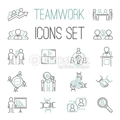 Business teamwork teambuilding outline icons. Business