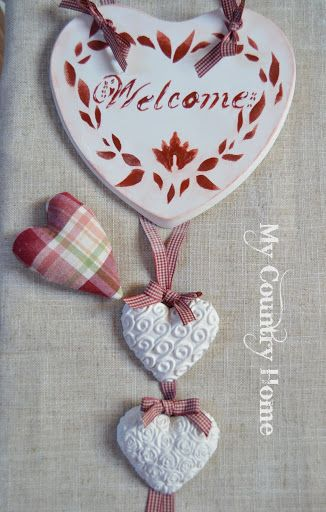 """MY COUNTRY HOME: Cuore in gesso""""welcome""""   <3"""