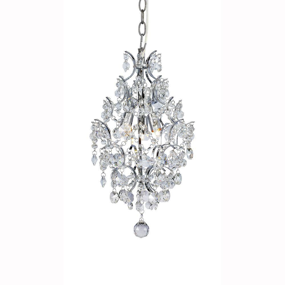 Hampton Bay 3 Light Chrome Crystal Branches Pendant 1000051534 The Home Depot Crystal Chandelier Small Chandelier Chrome Chandeliers