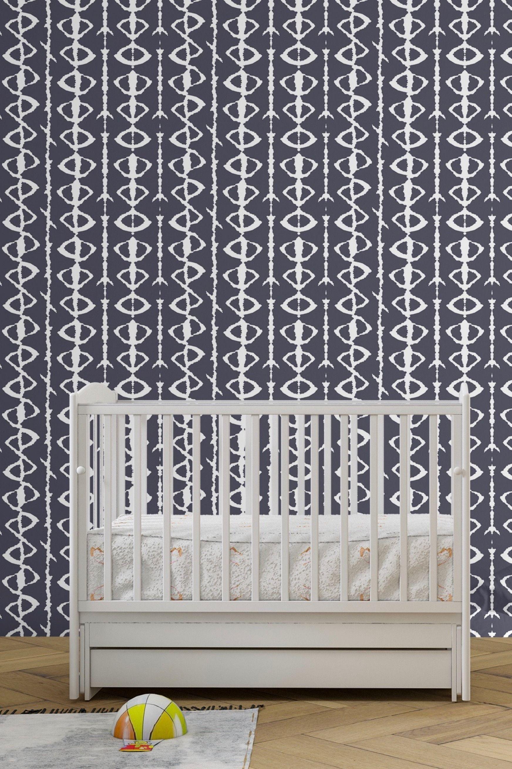 Navy Blue Ikat Peel And Stick Wallpaper Modern Nursery Peel And Stick Wallpaper Wallpaper