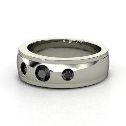 Trinity Ring, Men's Round Black Diamond Palladium Ring from Gemvara