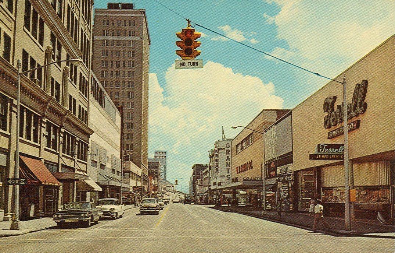 Main Street Downtown Jacksonville Travel Postcard Vintage