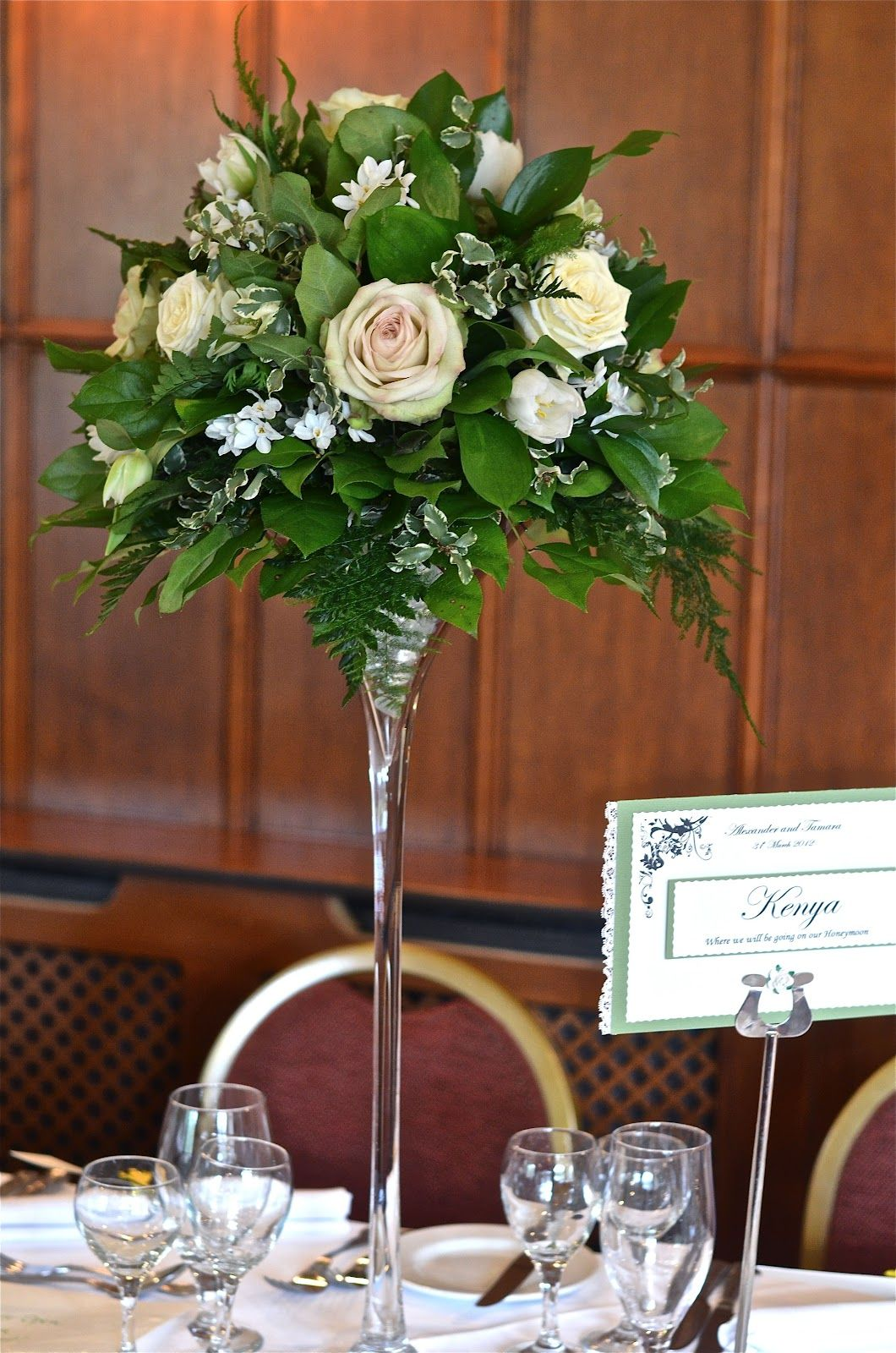 Champagne Glass Wedding Centerpieces | Classic buttonhole of rose ...