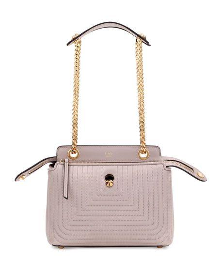 9db62afc2e0 Dotcom Click Medium Quilted Chain Shoulder Bag Gray | Fendi® | Chain ...