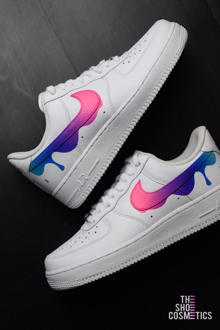 Nike air force 1 paint drip custom shoes | White nike shoes