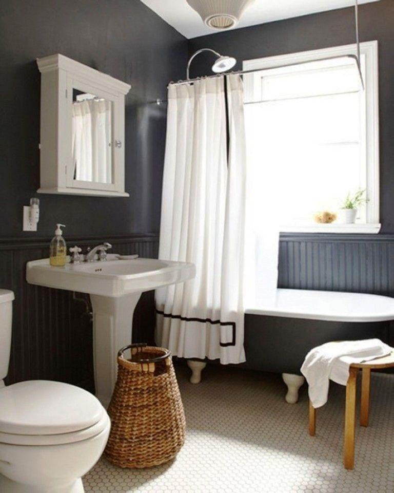 Washstand Medicine Cabinet Clawfoot Bathtub with navy bead board