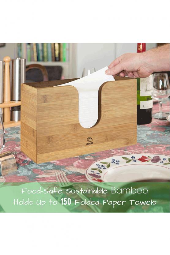 Ebun Bamboo Paper Towel Dispenser Countertop Dispensing