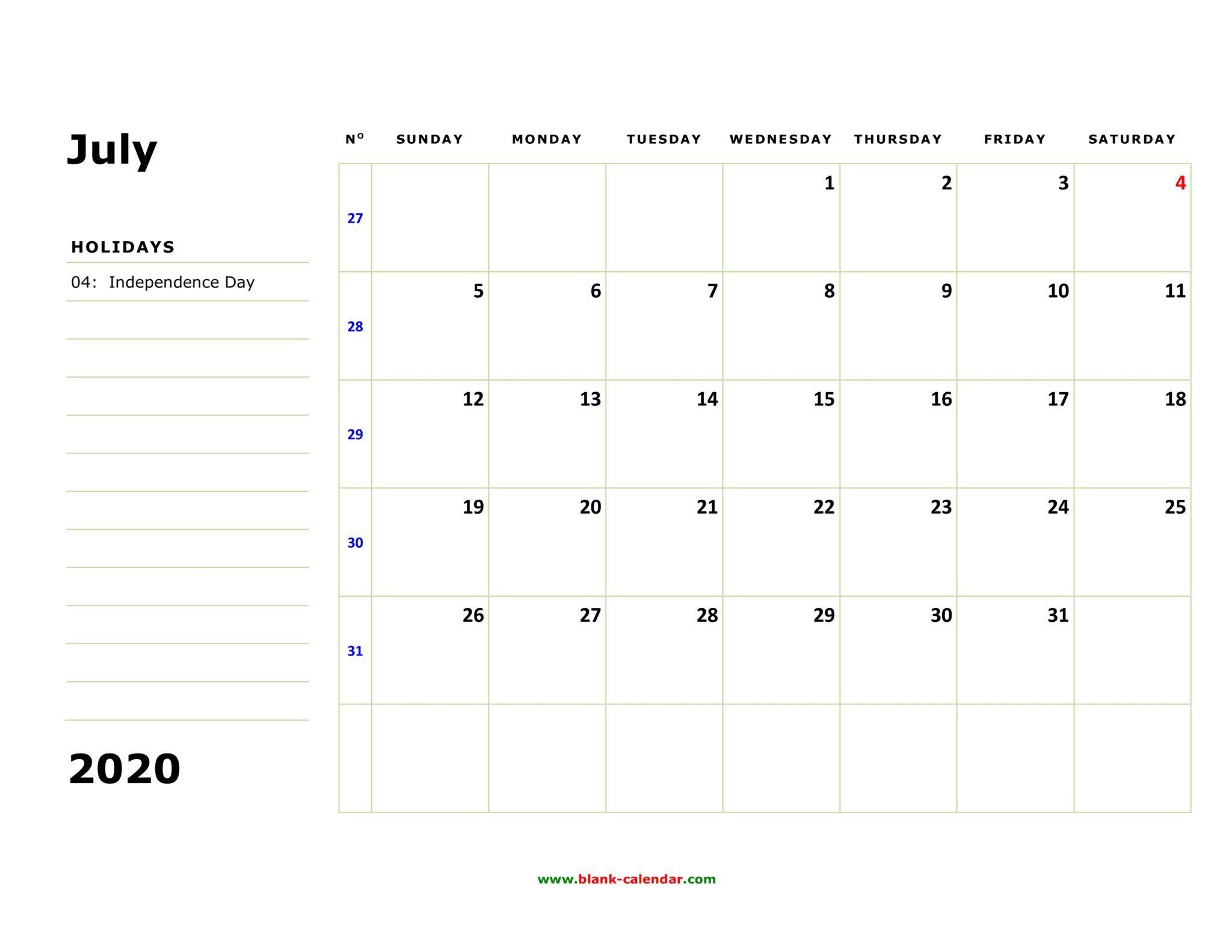 July 2020 Printable Calendar Excel In 2020 Free Printable
