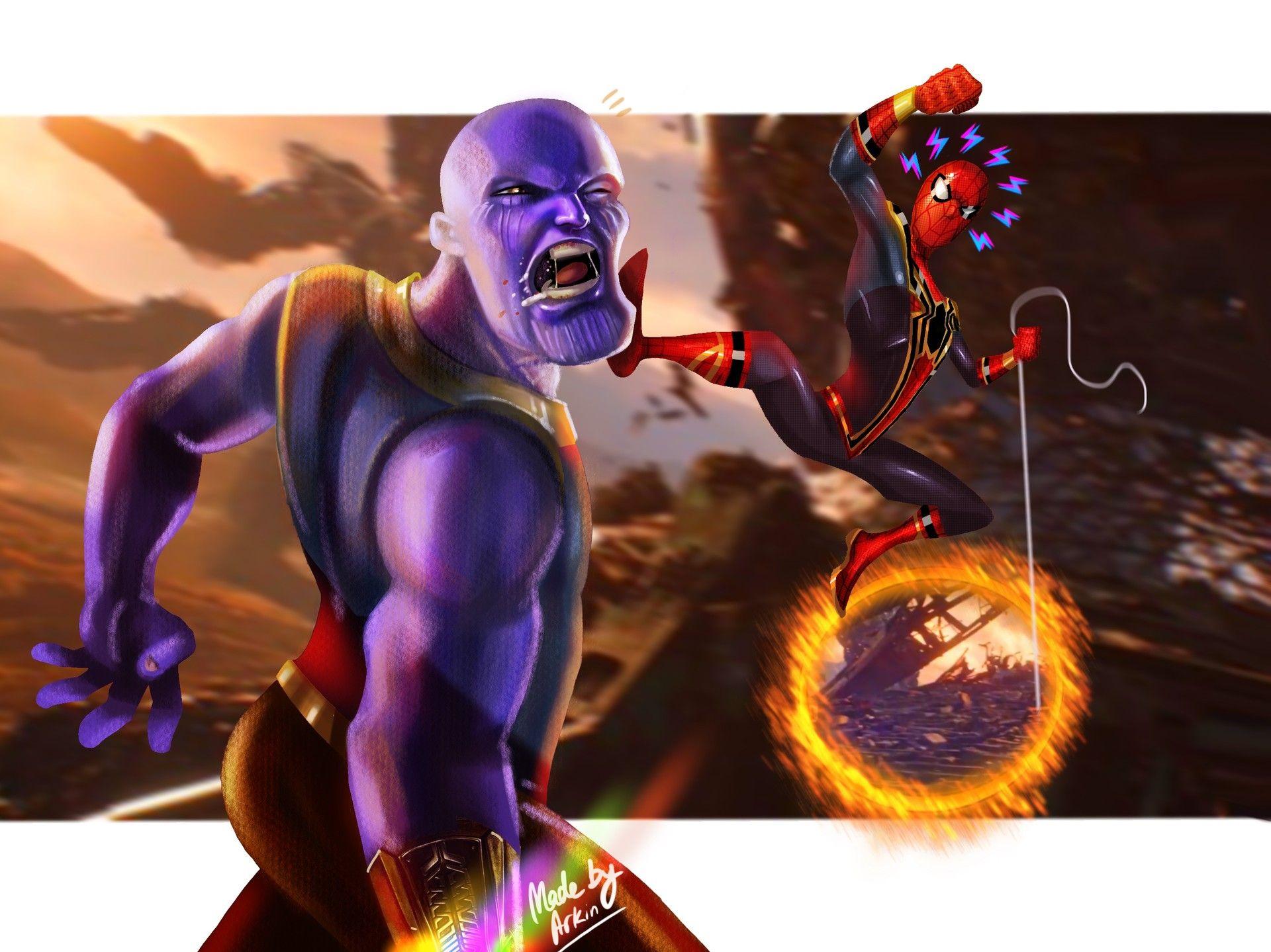 Thanos vs Spider-man by Arkin Tyagi.   Spiderman, Funny ...