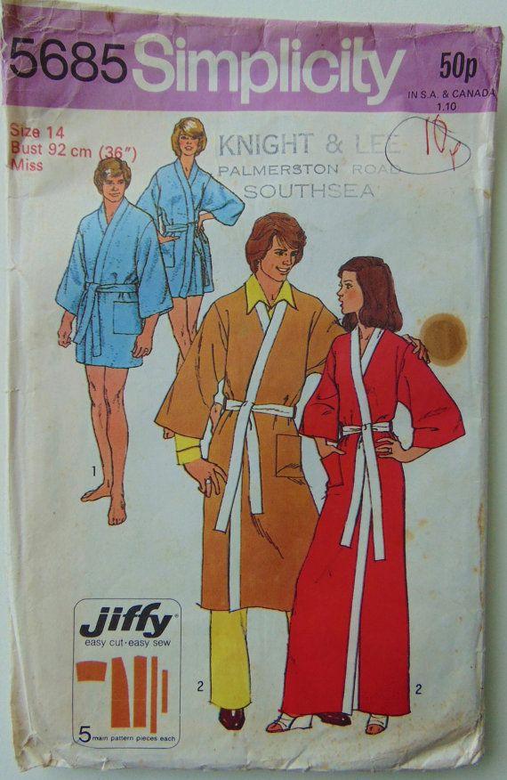 70\'s Kimono Robe Pattern - Simplicity 5685 - Size 14 Bust 36 ...
