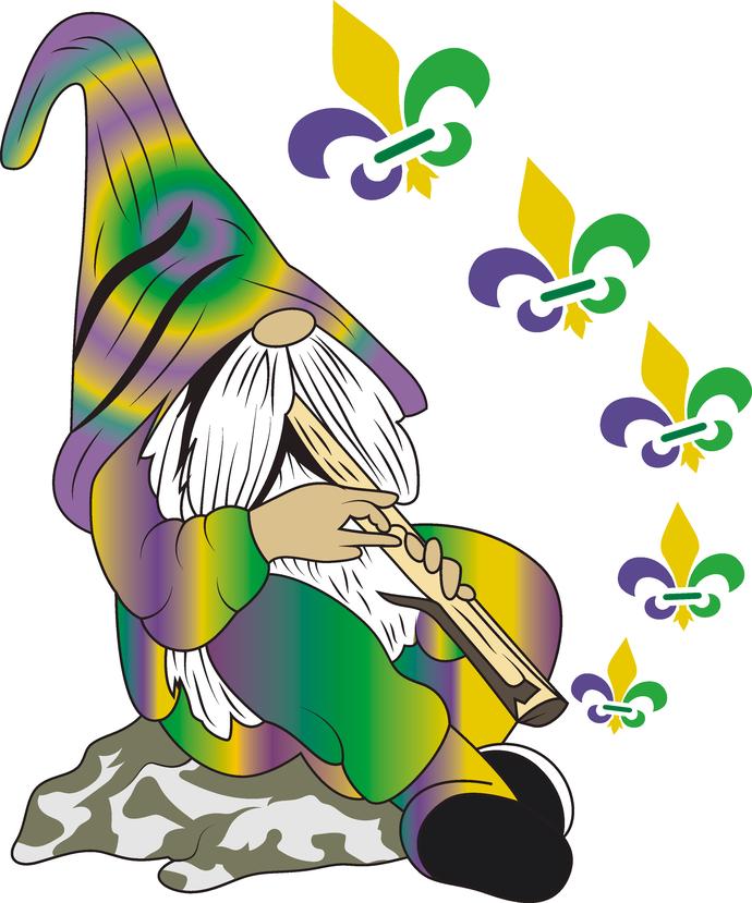 Mardi Gras Gnome Fleur De Lis Party Gnome Gnomio Gold Finger Gnome Green Purple Gold King Cake Beads King Of King Cake Mardi Gras Mardi Gras King Cake
