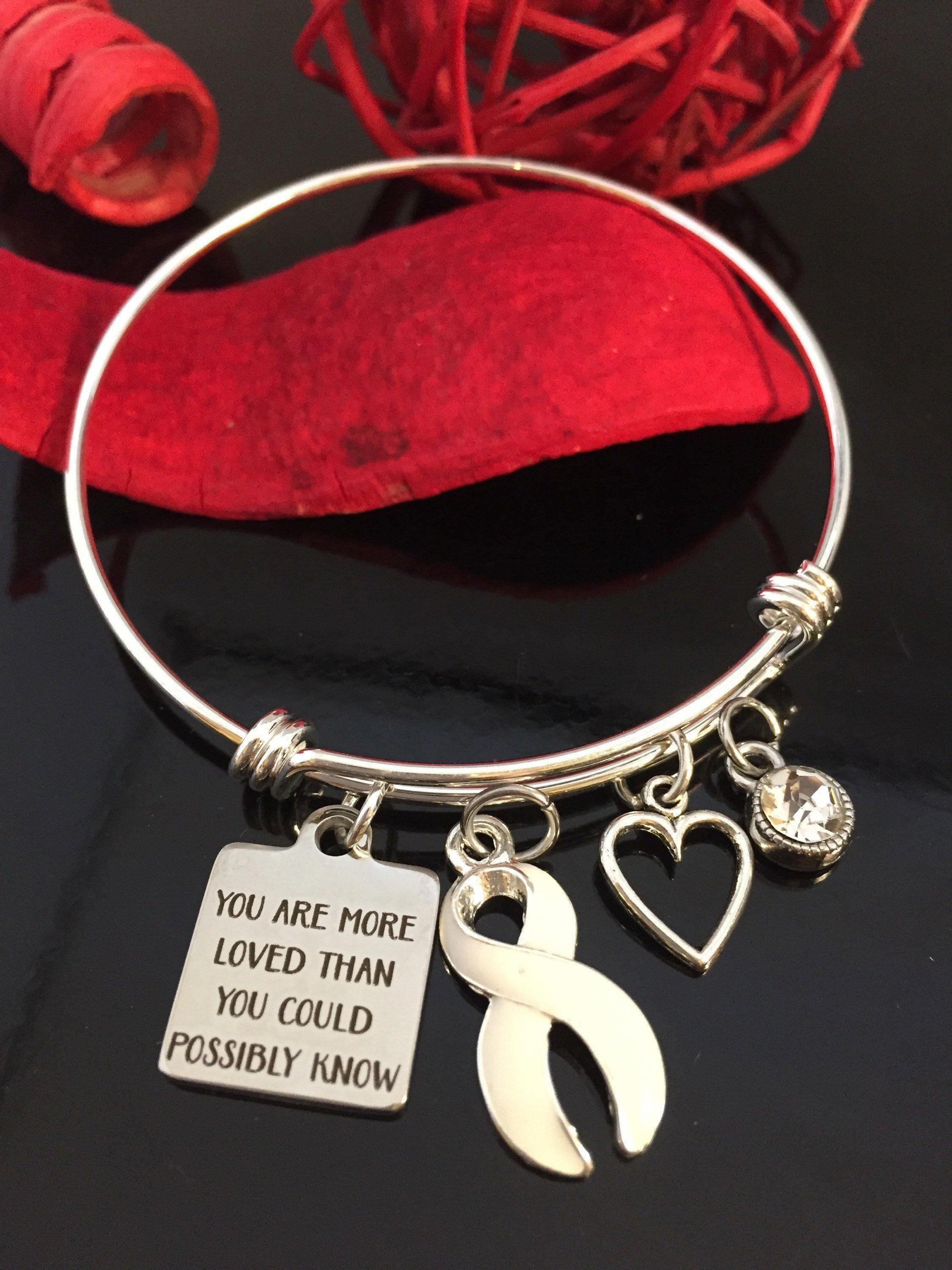 White Ribbon Charm Bracelet You Are Loved Lung Cancer Awareness Survivor Mesothelioma Emphysema By Rockyourcausejewelry On Etsy