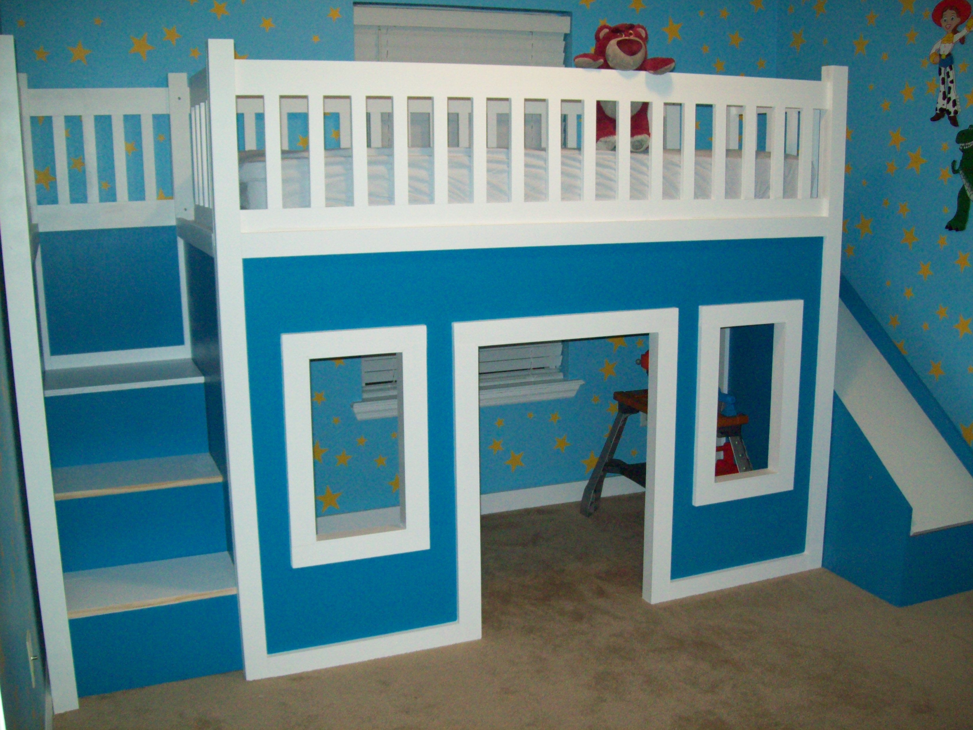 Playhouse Loft Bed With Stairs And Slide, Playhouse Loft Bed, Loft Bed | Do