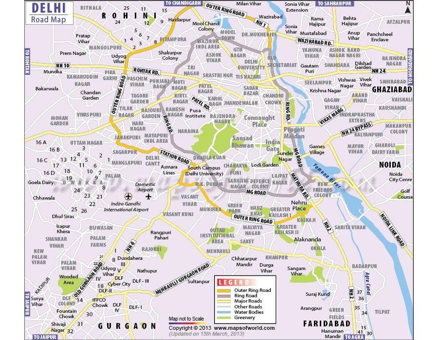 Buy Delhi Road Vinyl Map Delhi map, Delhi roads, City