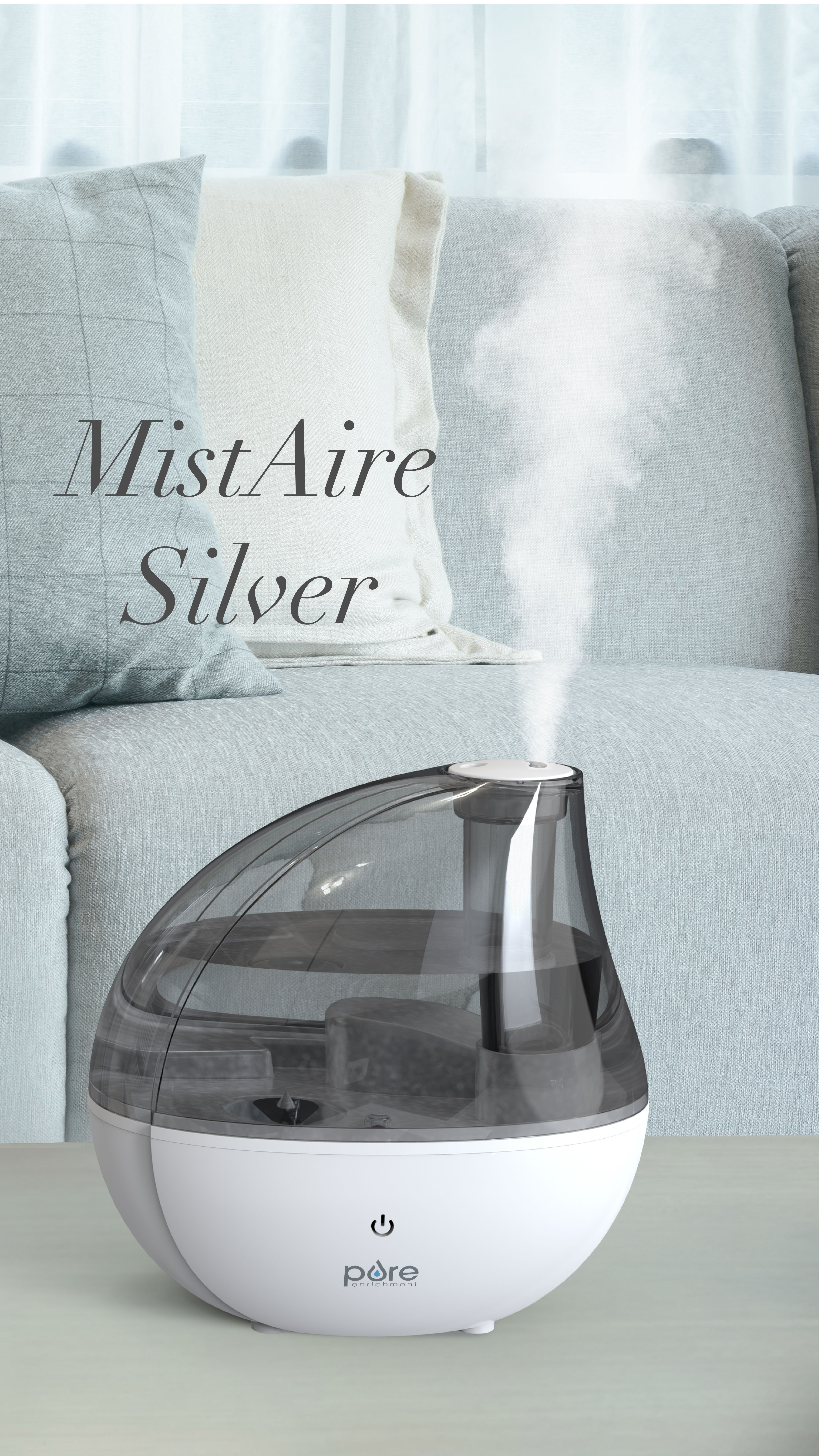 MistAire™ Silver Ultrasonic Cool Mist Humidifier in 2020