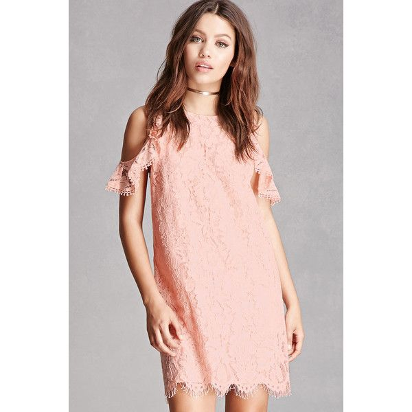 Forever21 Ruffle Lace Shift Dress ($45) ❤ liked on Polyvore ...