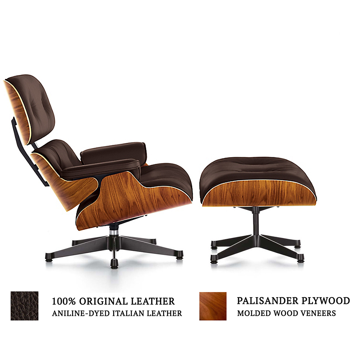 Miraculous Eames Style Lounge Chair Ottoman Brown Michigan Living Alphanode Cool Chair Designs And Ideas Alphanodeonline