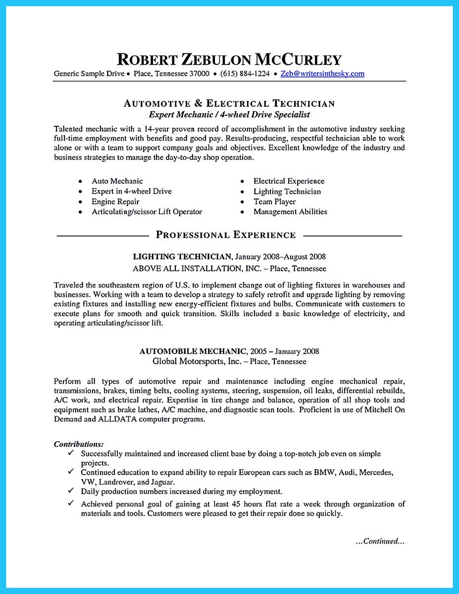 automotive technician resume examples
