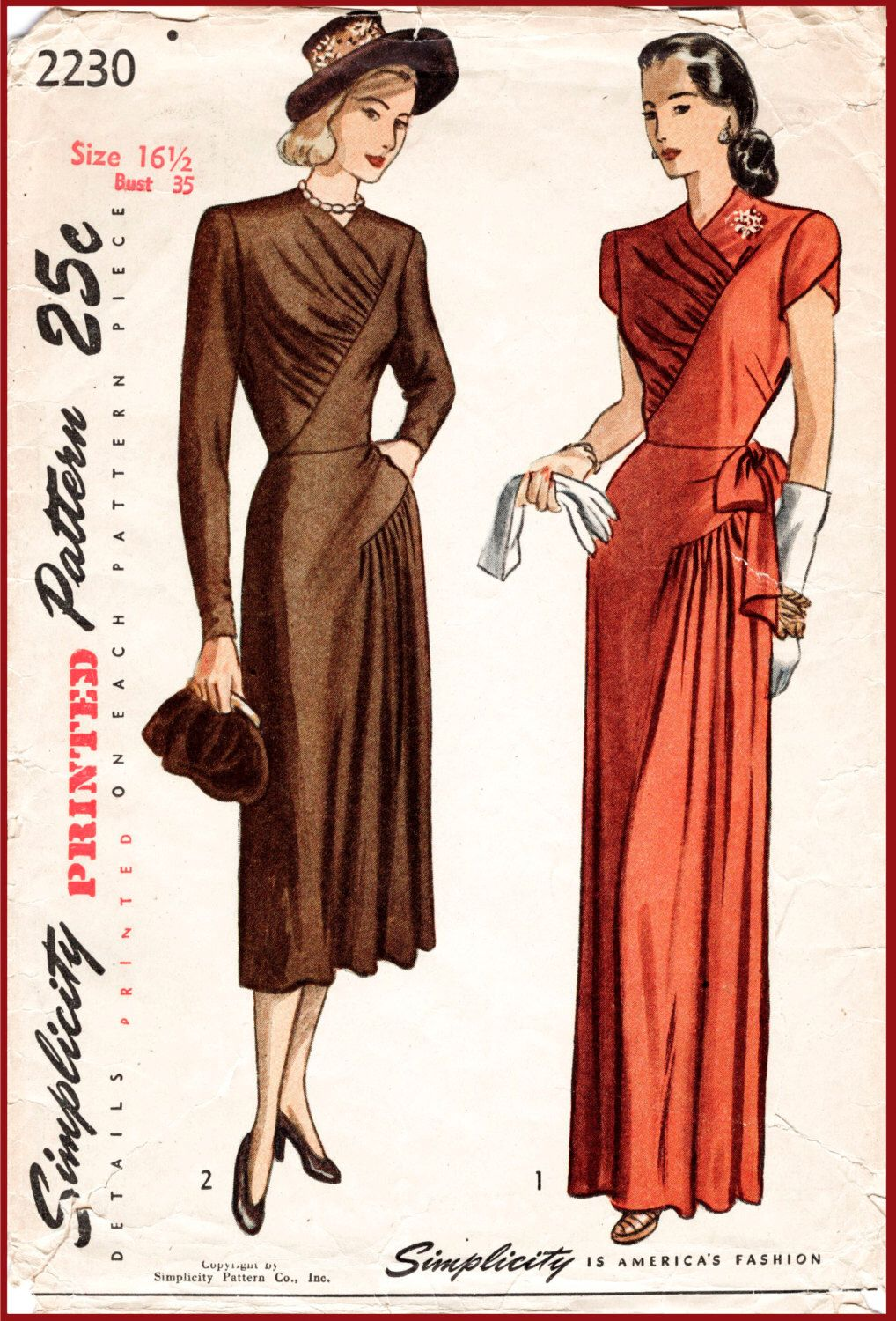 40s 1940s vintage reproduction sewing pattern film noir evening ball gown cocktail draped pleats size small medium bust 35 b35 reproduction