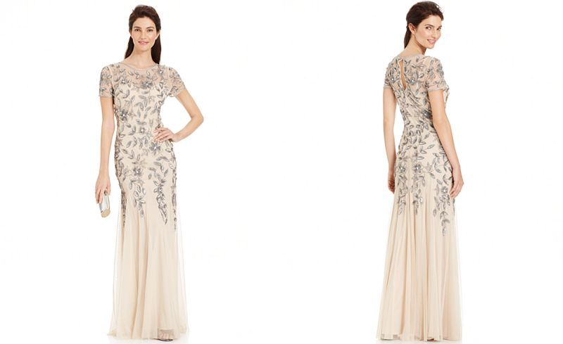 Adrianna Papell Floral-Beaded Gown & Reviews - Dresses ...