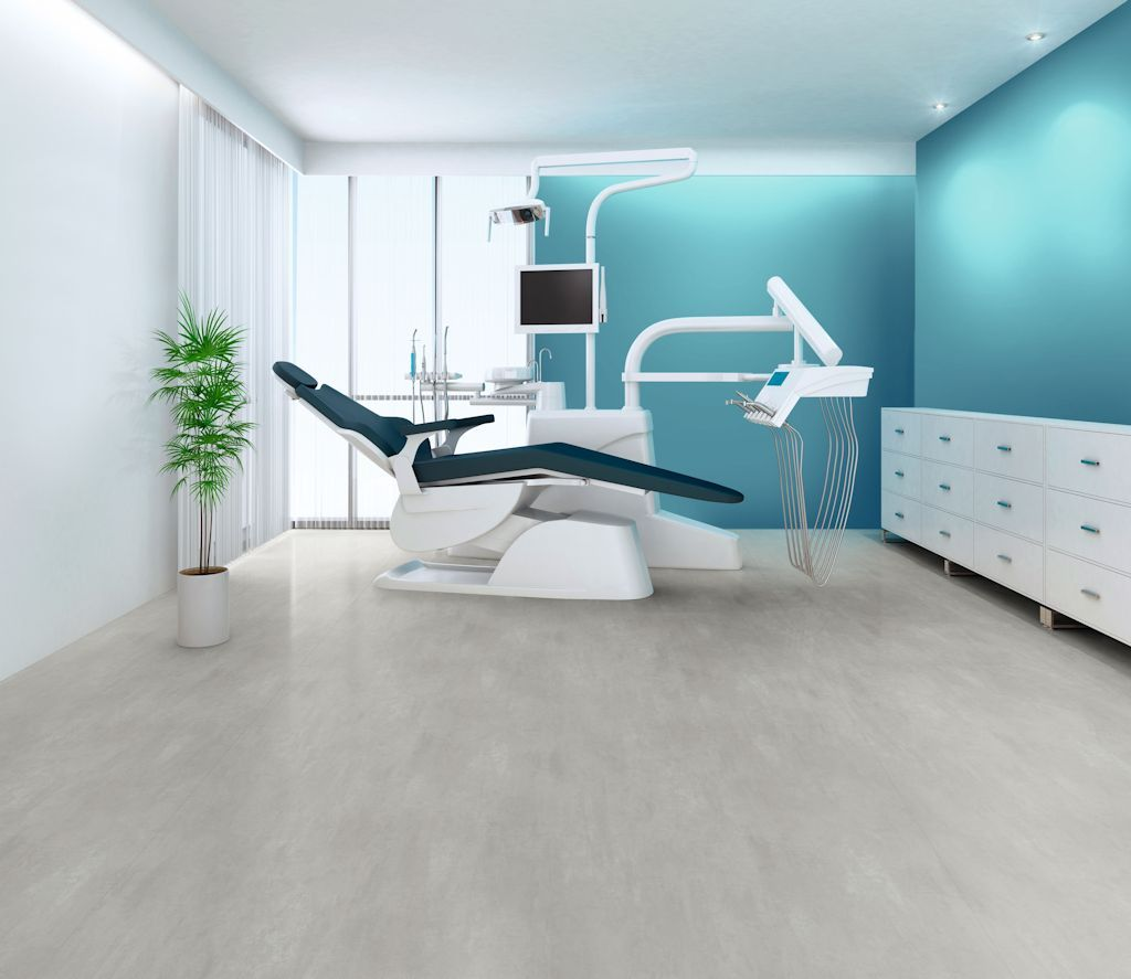 Polyflor Silentflor Pur Acoustic Flooring In Light Grey Concrete Installed In A Dentist Surgery Luxury Vinyl Tile Vinyl Flooring Flooring