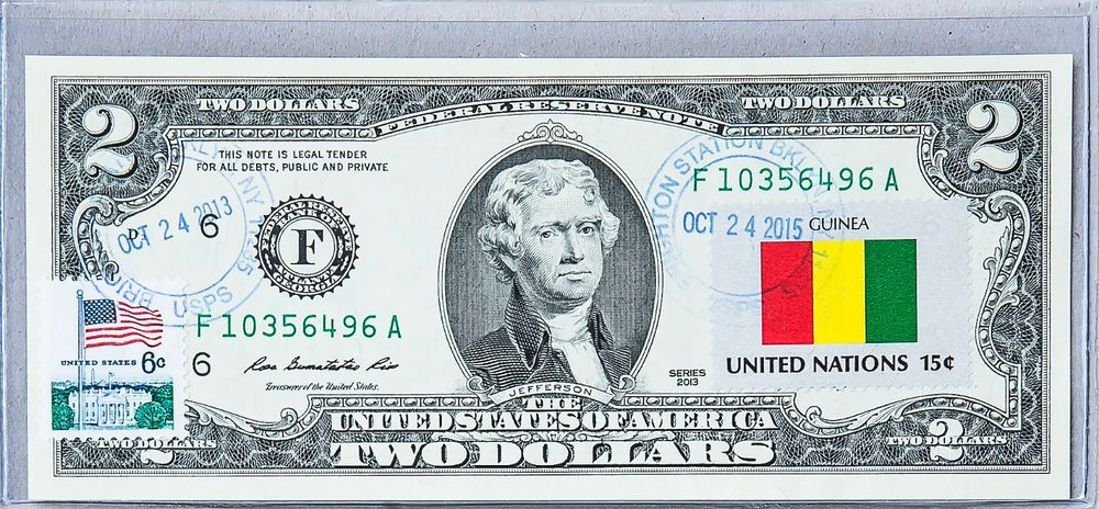 Two Dollar Bill Gem Unc Paper Money Us Currency Notes Business Gift Flag Guinea