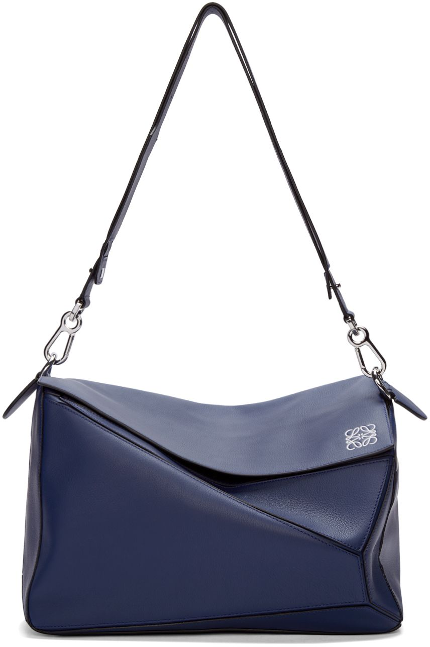 Loewe Navy Leather Extra Large Puzzle Bag  20cd4c63b1258
