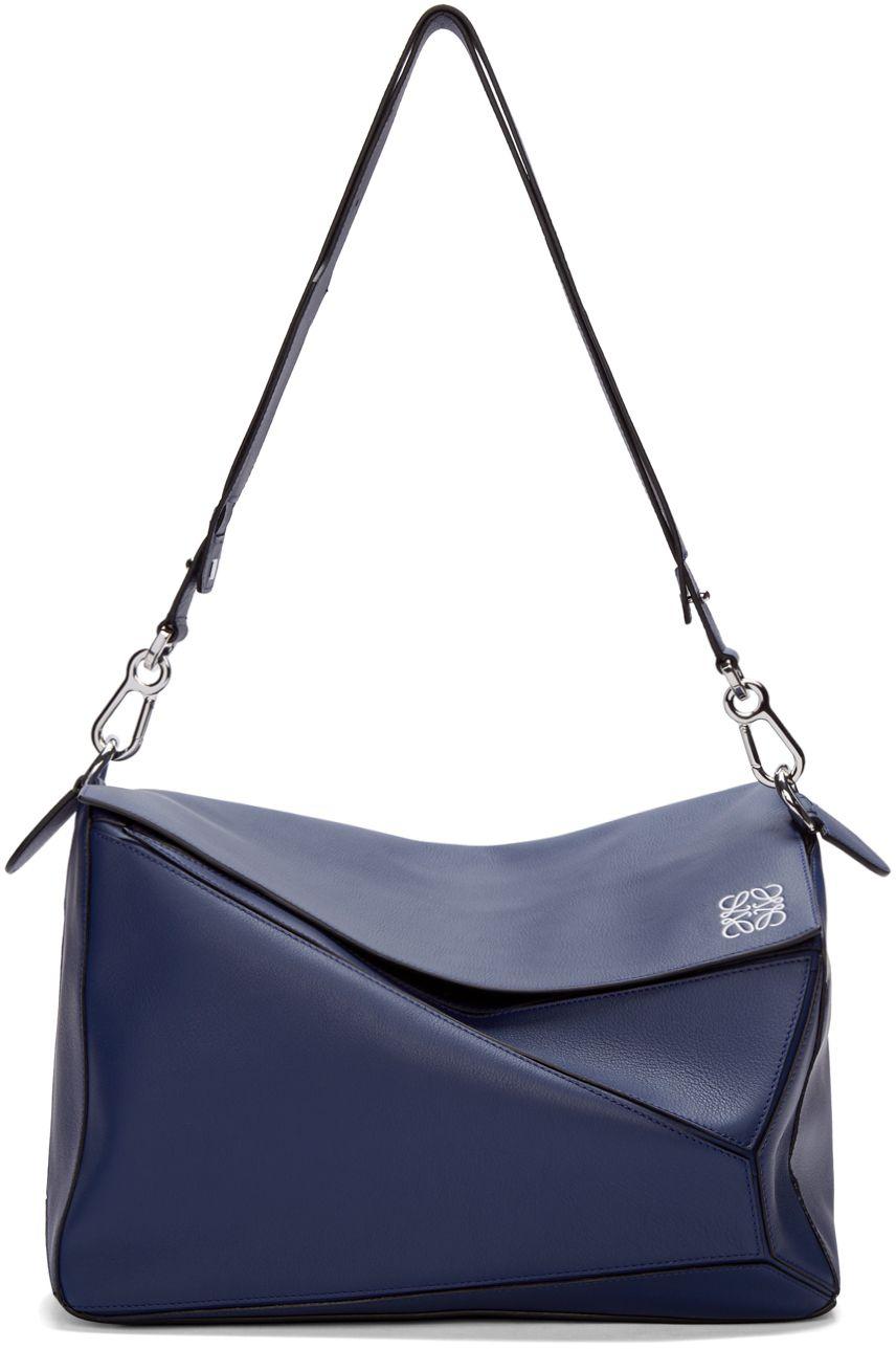 7688da2de597 Loewe Navy Leather Extra Large Puzzle Bag