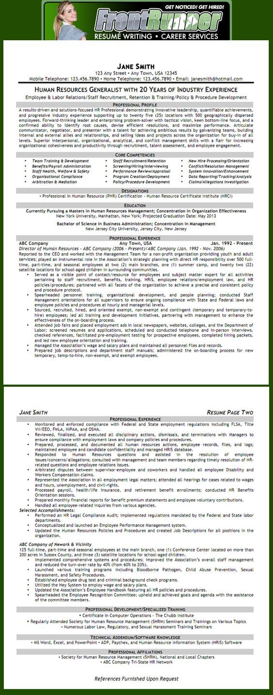 Human Resource Resume Templates Entrancing Resume  Human Resources Generalist  Human Resources  Pinterest