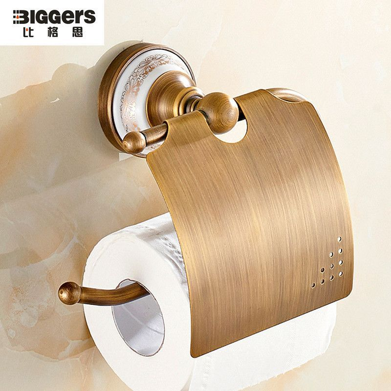 Free Shipping Antique Brass Europe Toilet Paper Holder Wall Mounted Ceramic Bathroom Ac Toilet Paper Holder Wall Mount Toilet Paper Holder Bathroom Accessories