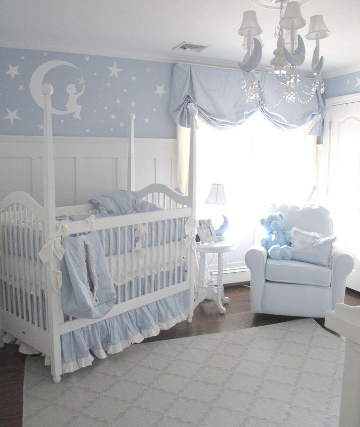 Une Chambre Bebe Avec Des Stickers Triangles Bleu Menthe Et Gris
