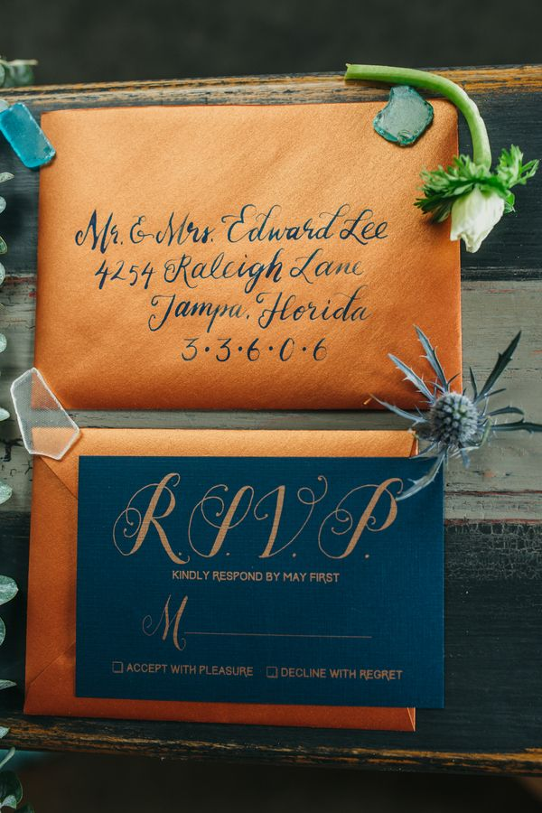 Handlettered navy and copper wedding invitations nauticalwedding