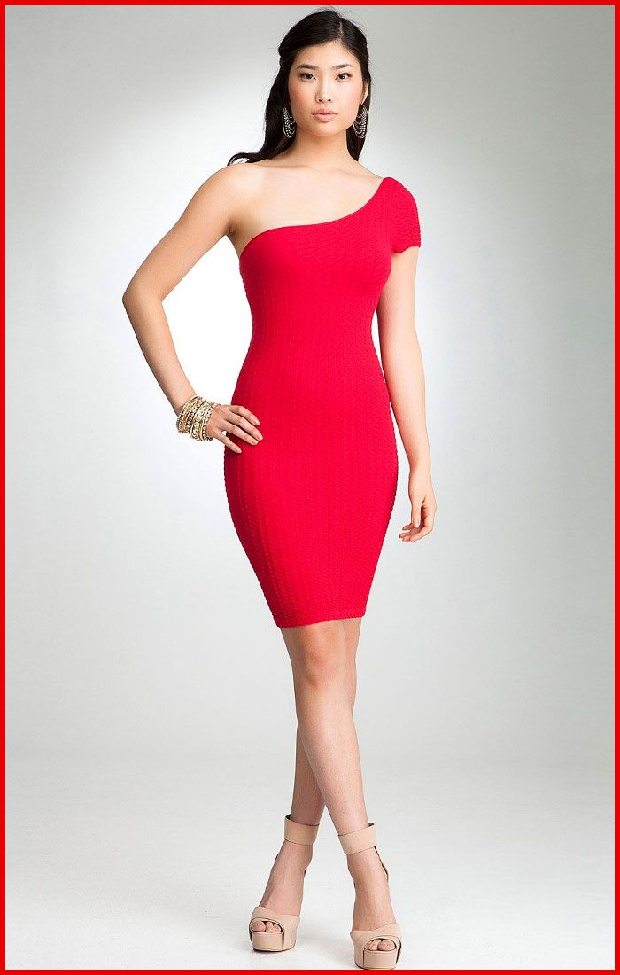one shoulder dress  One-Shoulder Red Cocktail Dress- Bebe ...