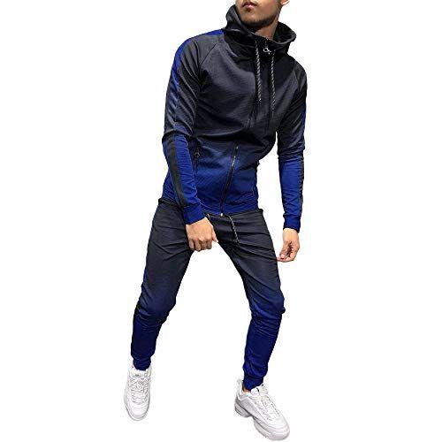 6c871c705 Conjunto de chándal para Hombre gradiente, Hombres Otoño Invierno Packwork  Imprimir Sudadera Top Pantalones Conjuntos