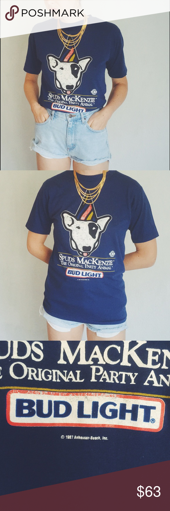 dca9d51b574 Spuds MacKenzie Bud Light Party Shirt Soft Vintage Thin and perfectly worn  in. Some crackling