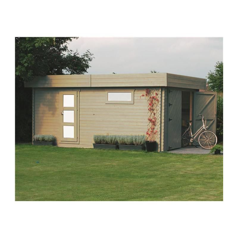 Garage en bois massif toit plat 19,26m² - 40mm - Maison Facile  www