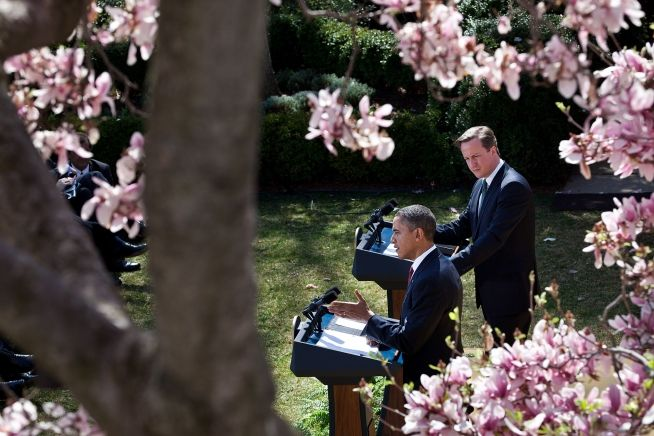 President Barack Obama and Prime Minister David Cameron in the Rose Garden of the White House, March 14, 2012.