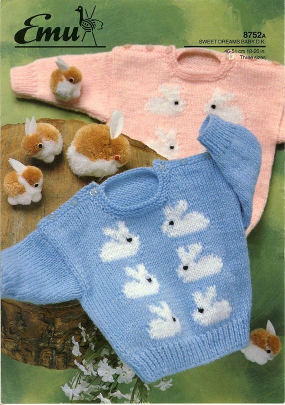 Bunny Rabbit Sweater PDF Knitting Pattern. EMU 8752. Babies ...