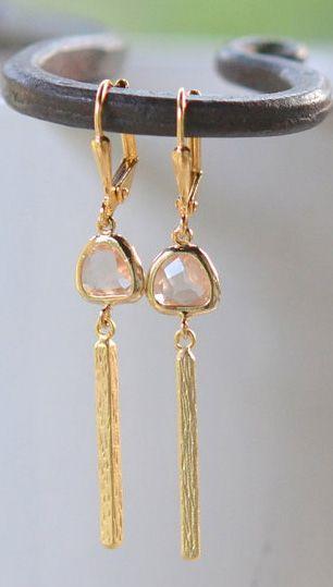 Champagne Bar Drop Earrings in Gold