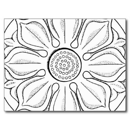 lotus blossom mandala symbol black and white line drawing postcard for YOU to color