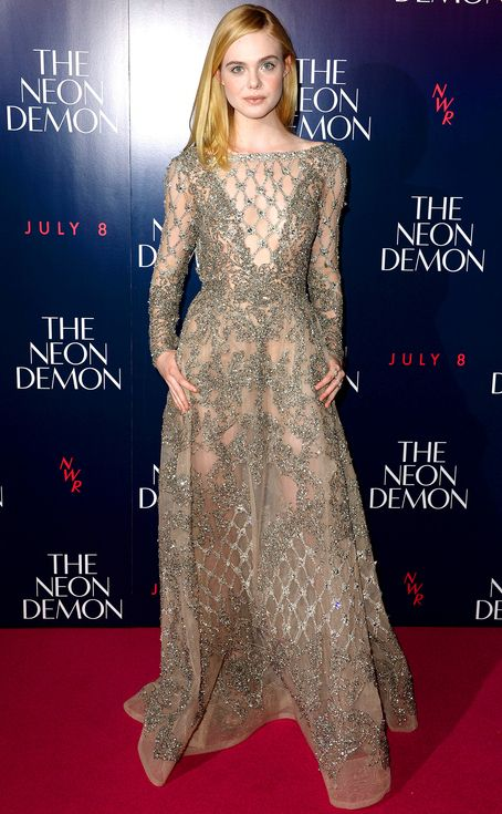 Elle Fanning in a sheer silver beaded Elie Saab dress