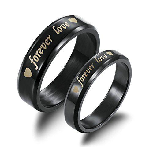 """Daesar Womens """"Forever Love"""" Stainless Steel Black Rings…"""