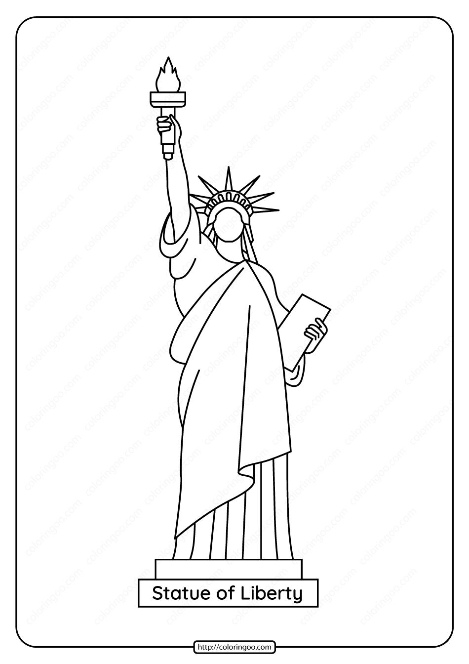 Free Printable Statue Of Liberty Pdf Coloring Page Statue Of Liberty Drawing Statue Of Liberty Nyc Drawing