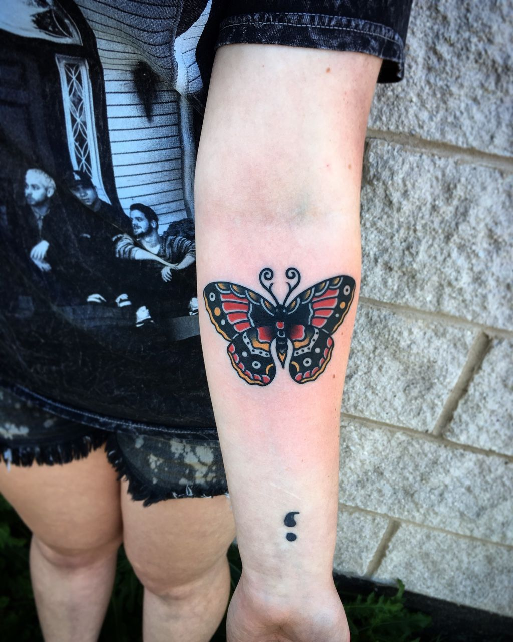 1337tattoos — Traditional butterfly done by Bill Dugan of