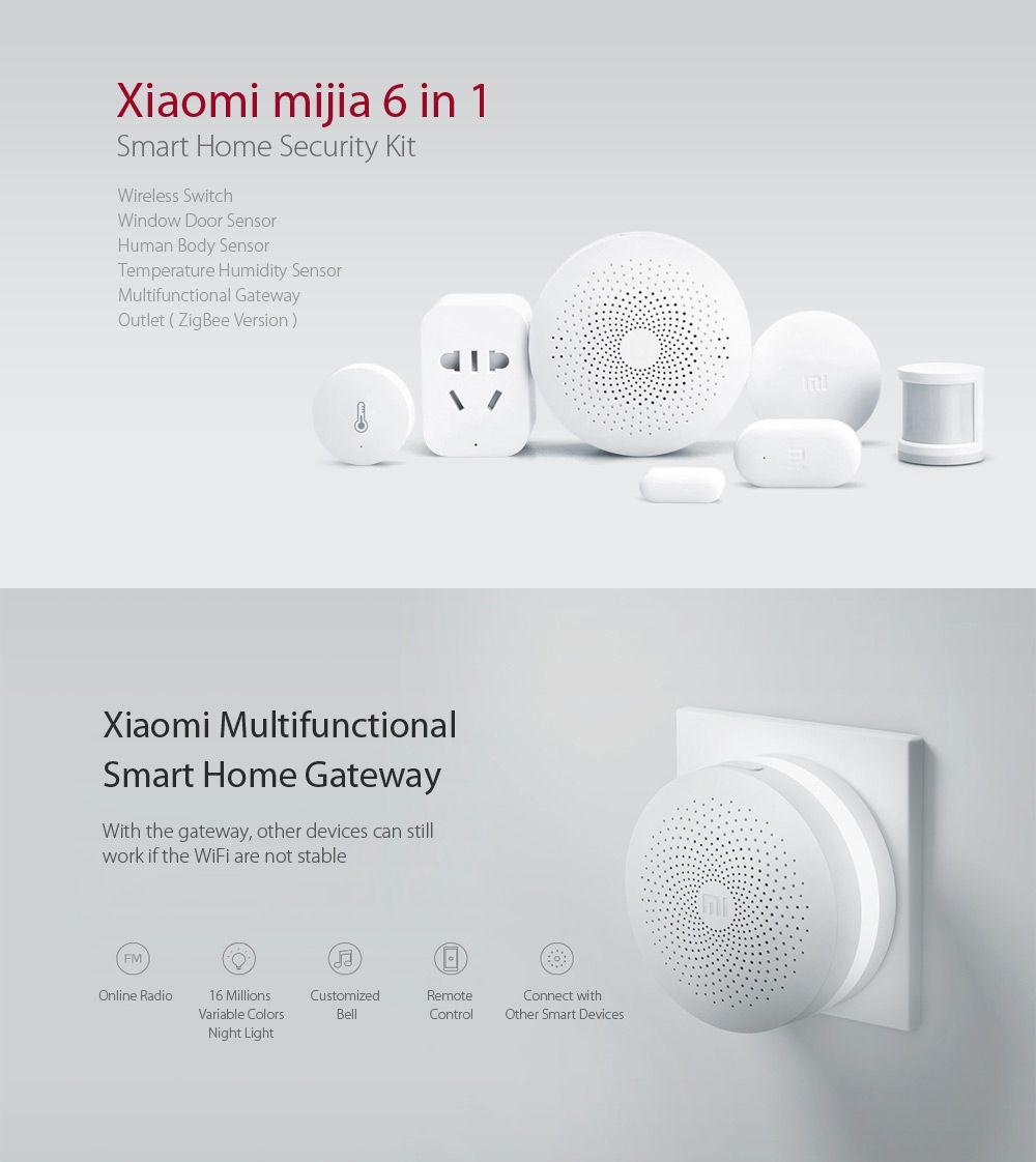 Xiaomi mijia 6 in 1 Smart Home Security Kit - WHITE $69.99 | Smart ...