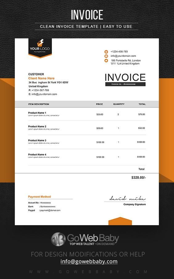 Business Invoice Templates For Website Marketing  Invoice