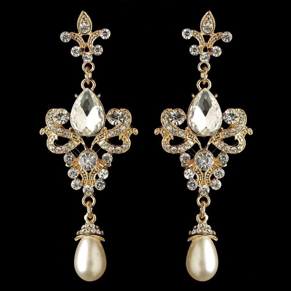 Gold Fleur De Lis Vintage Look Crystal And Pearl Wedding Earrings